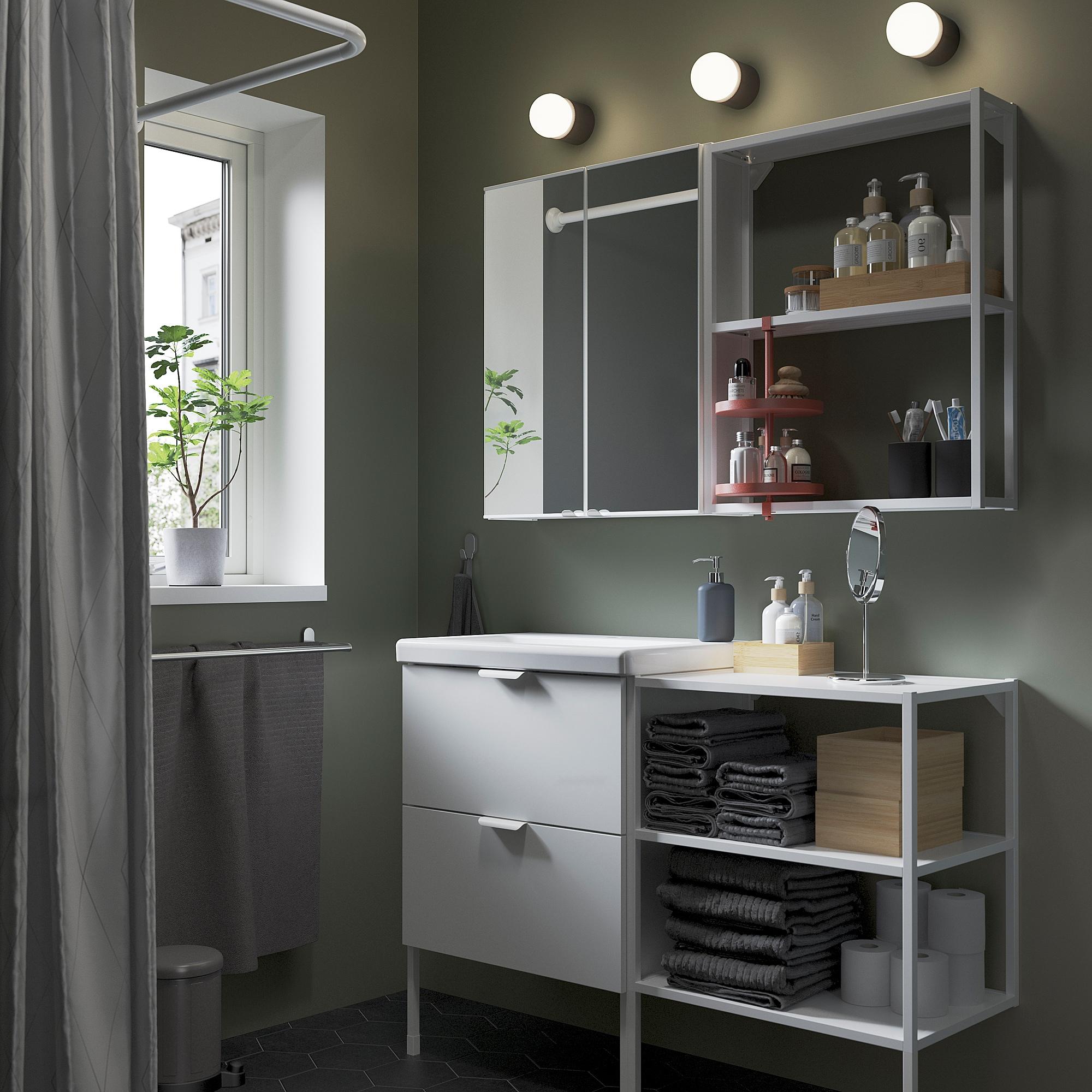 ENHET / TVÄLLEN Bathroom furniture, set of 15, high-gloss white/white Glypen tap, 122x43x87 cm