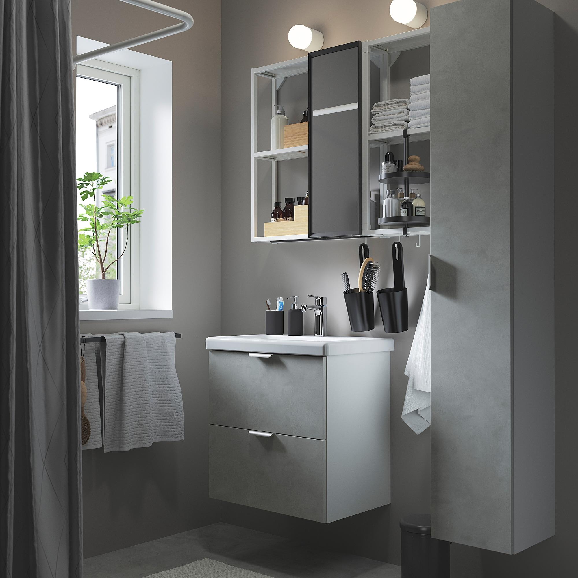 ENHET / TVÄLLEN Bathroom furniture, set of 18, concrete effect/white Brogrund tap, 64x43x65 cm