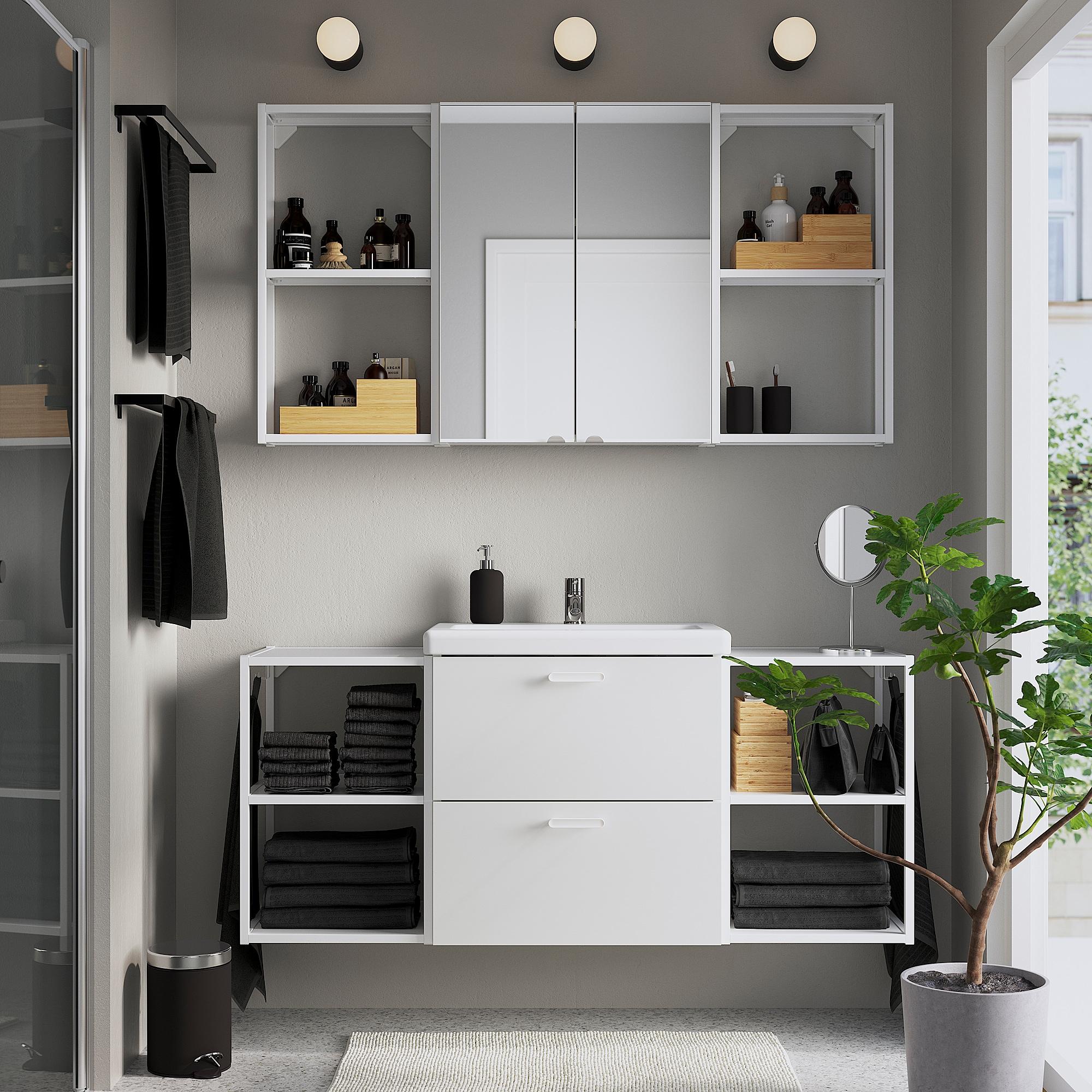 ENHET / TVÄLLEN Bathroom furniture, set of 18, white/Pilkån tap, 140x43x65 cm