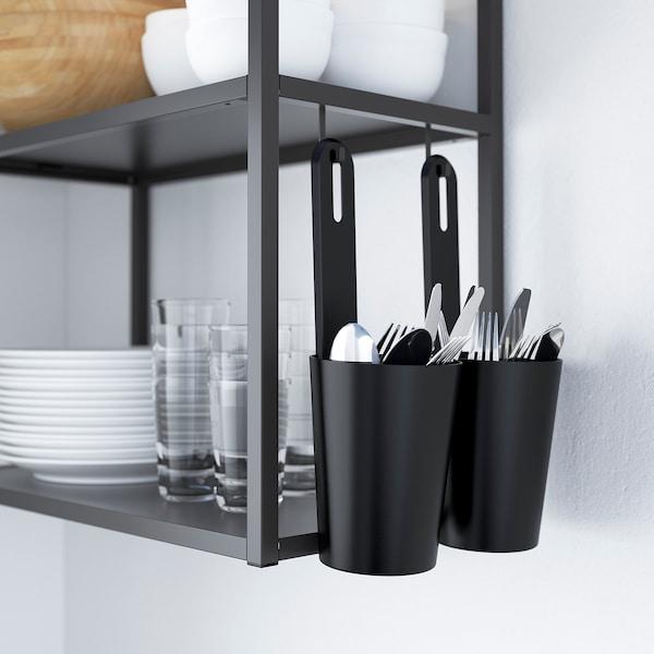ENHET Cuisine d'angle, anthracite/gris avec cadre