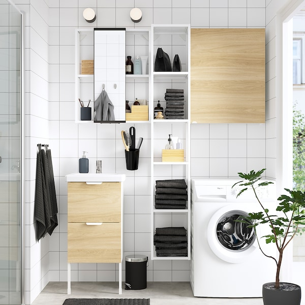 ENHET / TVÄLLEN Bathroom furniture, set of 16, oak effect/white Pilkån tap, 44x43x87 cm
