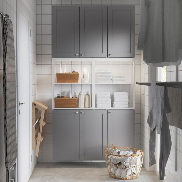 ENHET Wall storage combination, white/grey frame, 120x30x225 cm