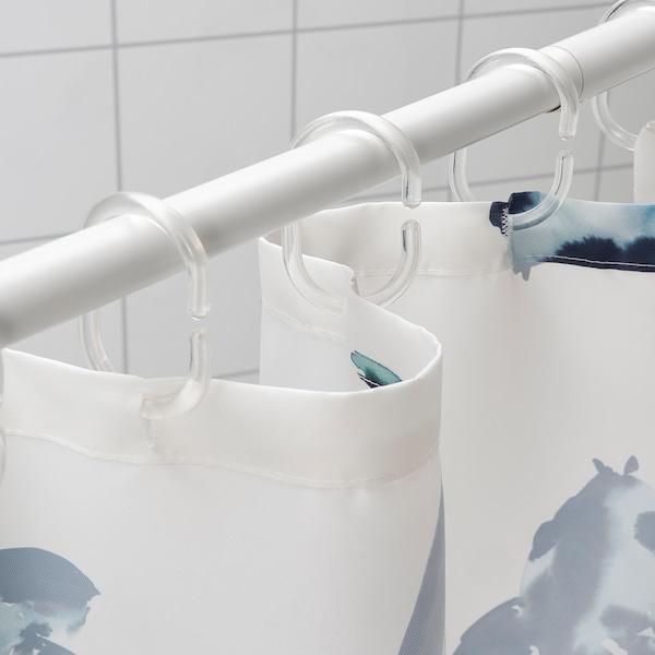 VATTENSJÖN Rideau de douche, blanc bleu/poisson, 180x200 cm