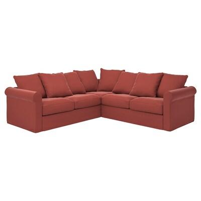 GRÖNLID Canapé d'angle, 4 places, Ljungen rouge clair