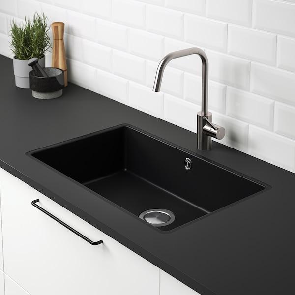 KILSVIKEN Lavello da incasso, 1 vasca, nero materiale composito di quarzo/per piano lavoro su misura laminato, 72x46 cm