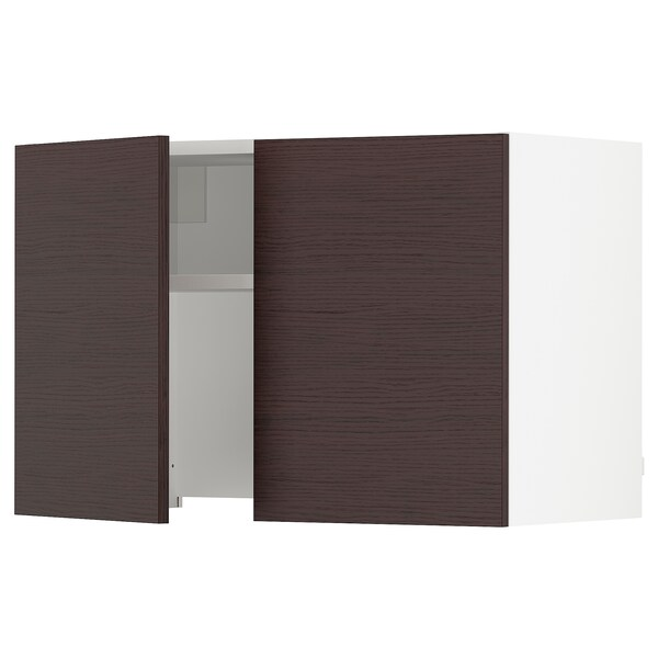 SEKTION Wall cab w built-in extractor hood, white Askersund/dark brown ash effect, 30x15x20 ""