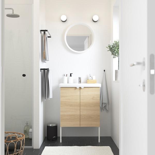 ENHET / TVÄLLEN Wash-basin cabinet with 2 doors, oak effect/white Pilkån tap, 64x43x87 cm