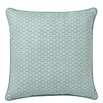 KASKADGRAN Coussin, gris turquoise/blanc, 40x40 cm