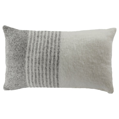ALKRONMAL Cushion cover, check pattern gray/white, 16x26 ""