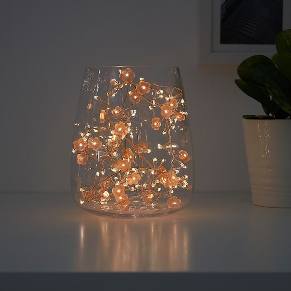 SOLGLIMTAR LED lighting chain with 140 lights, battery-operated flower