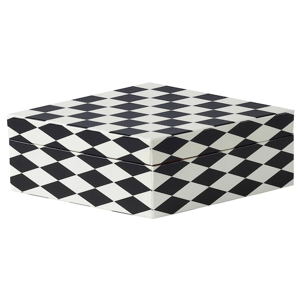DEKORERA Box with lid, diamond pattern black/white, 28x14x8 cm