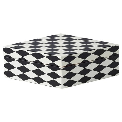 DEKORERA Box with lid, diamond pattern black/white, 11x5 ½x3 ¼ ""