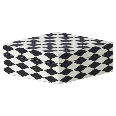 DEKORERA Box with lid, diamond pattern black/white, 28x14x8 cm