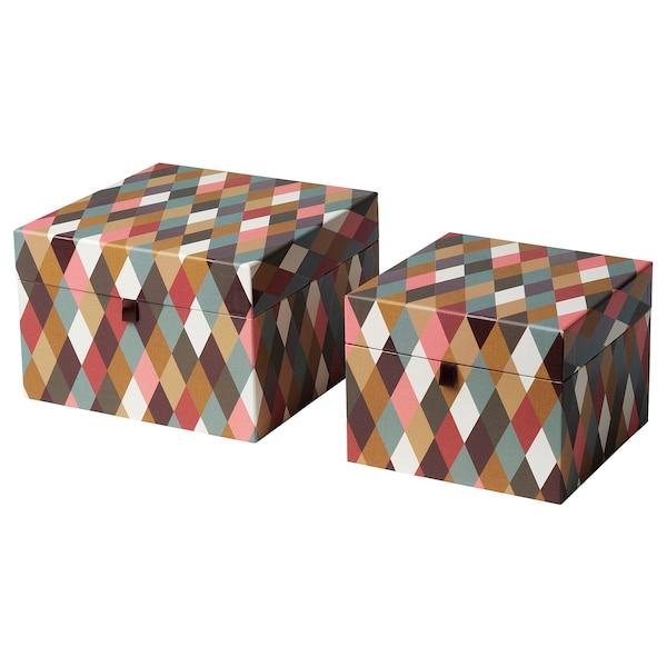 DEKORERA Box with lid, set of 2, diamond pattern multicolour