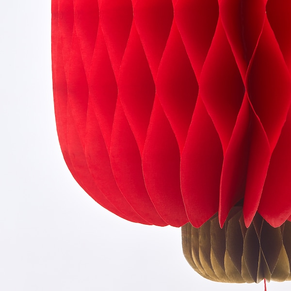 SOLGLIMTAR Decoration, lantern, red, 18 cm