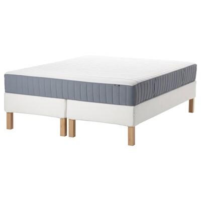 ESPEVÄR/VALEVÅG Łóżko kontynentalne, biały/średnio twardy jasnoniebieski, 180x200 cm