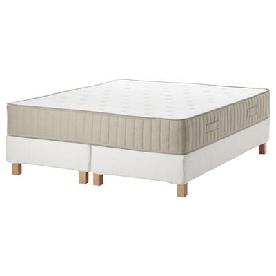 ESPEVÄR/VATNESTRÖM Łóżko kontynentalne, biały/średnio twardy naturalny, 160x200 cm