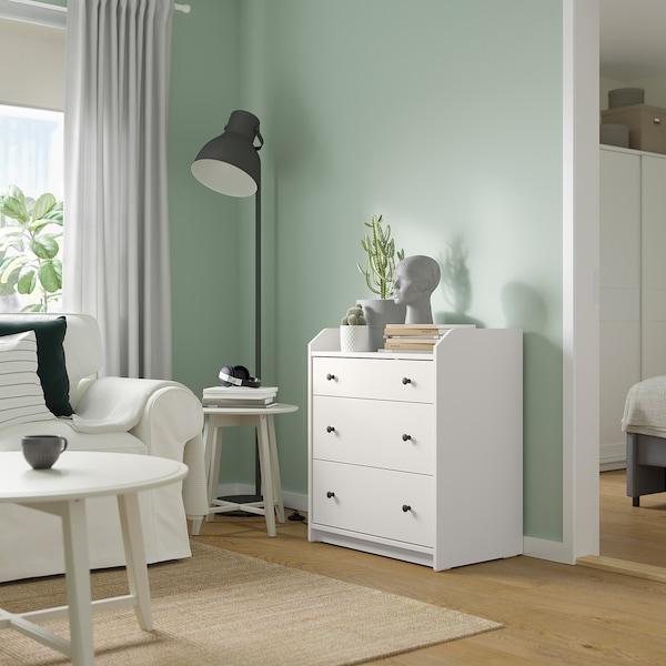 HAUGA Commode 3 tiroirs, blanc, 70x84 cm