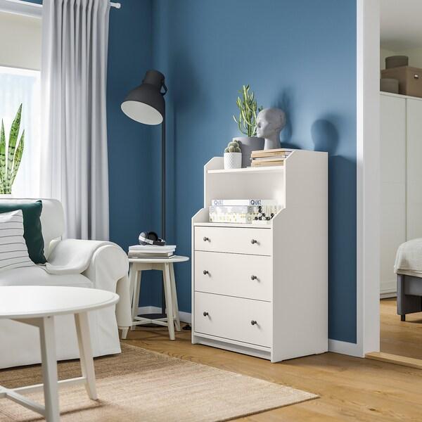HAUGA Commode 3 tiroirs avec tablette, blanc, 70x116 cm