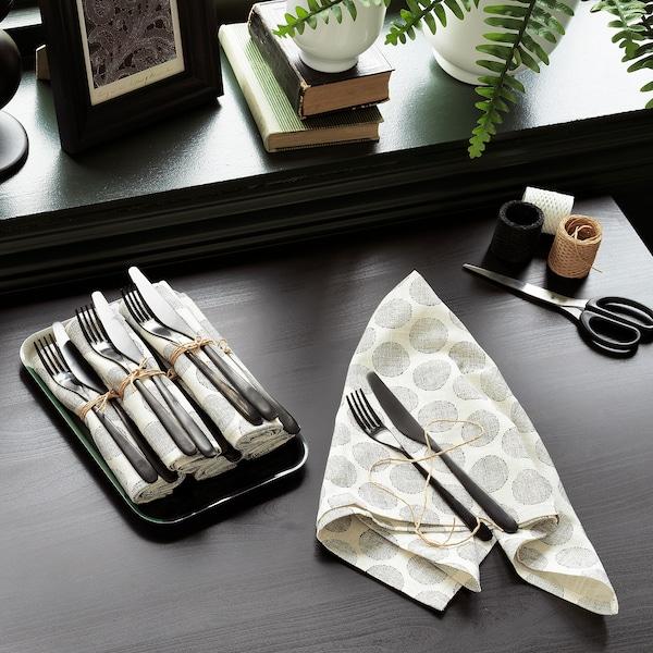 DEKORERA Tea towel, dotted natural/grey, 60x60 cm