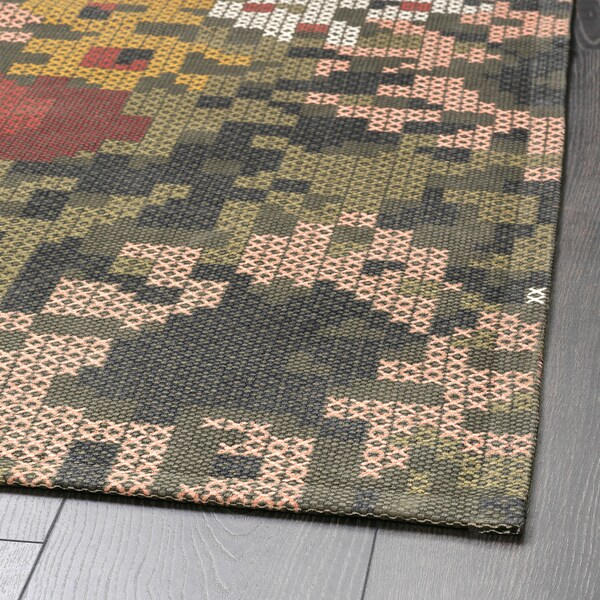 "DEKORERA Rug, flatwoven, flower patterned, 5 ' 3 ""x7 ' 3 """