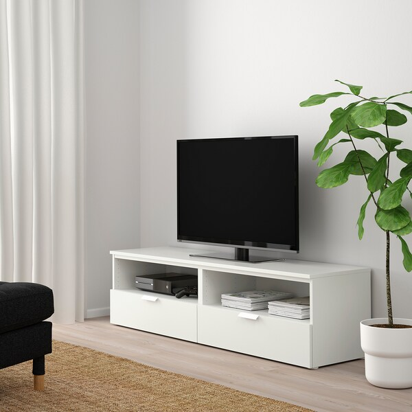PLATSA Banc TV avec tiroirs, blanc/Fonnes blanc, 160x44x44 cm