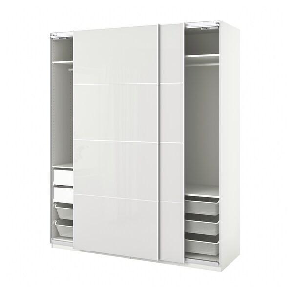 PAX / HOKKSUND Combinaison armoire, blanc/brillant gris clair, 200x66x236 cm