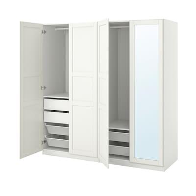 PAX / TYSSEDAL Garderobekombination, hvid/spejl, 200x60x201 cm