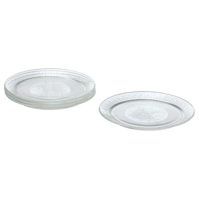 SÄLLSKAPLIG Petite assiette, verre transparent/à motifs, 20 cm