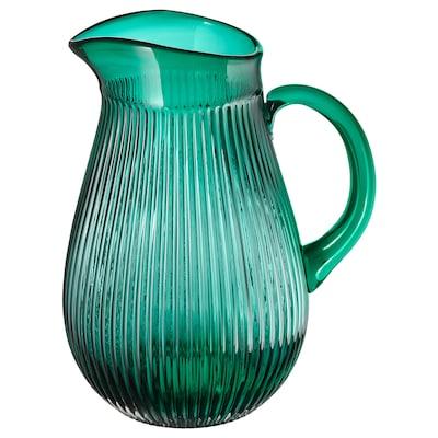 SÄLLSKAPLIG Pitcher, patterned/green, 68 oz