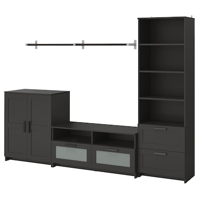 BRIMNES / BERGSHULT TV storage combination, black, 258x41x190 cm