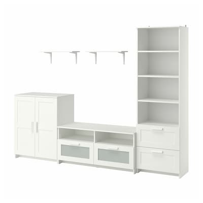 BRIMNES / BURHULT TV storage combination, white, 258x41x190 cm