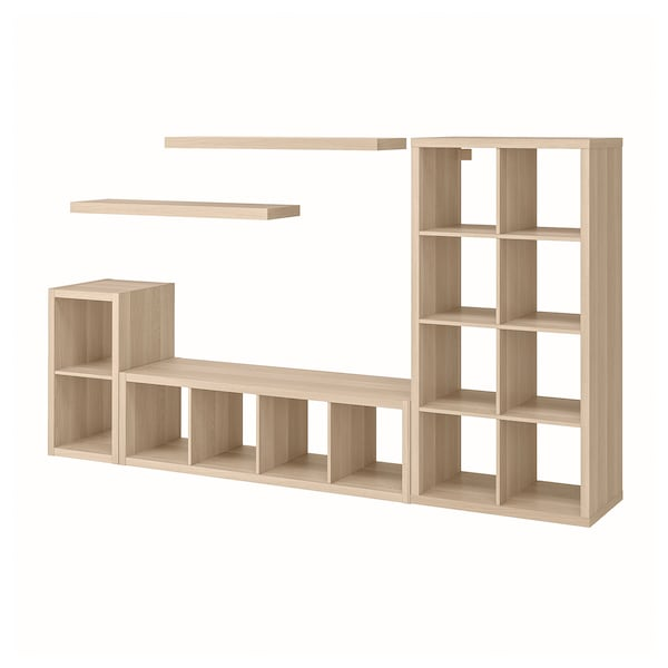 KALLAX / LACK Storage combination with 2 shelves, white stained oak effect, 266x39x147 cm