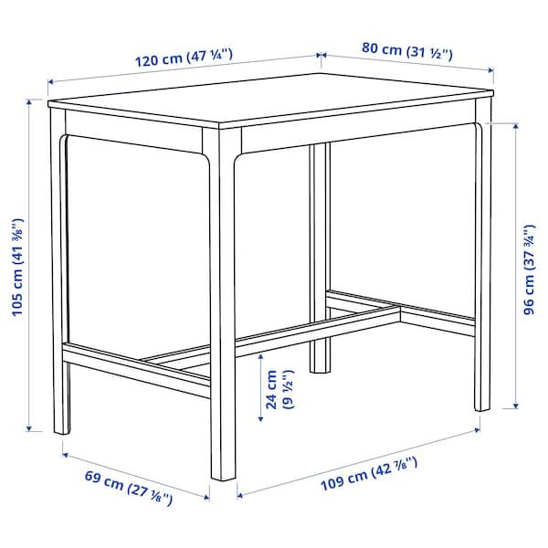 EKEDALEN Table de bar, blanc, 120x80x105 cm