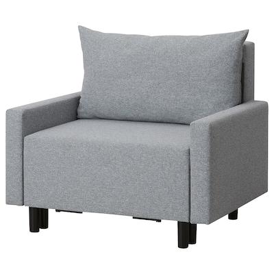 ORRVIKEN Fotel amerykanka z podnóżkiem, spanie szary, 80x200 cm