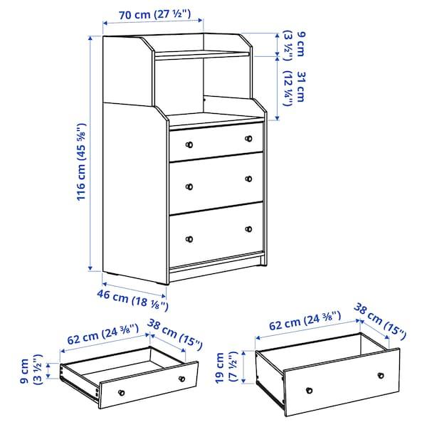 HAUGA Commode 3 tiroirs avec tablette, gris, 70x116 cm