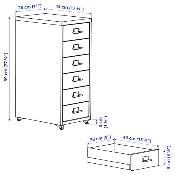 HELMER Caisson à tiroirs sur roulettes, gris foncé/gris clair, 28x69 cm