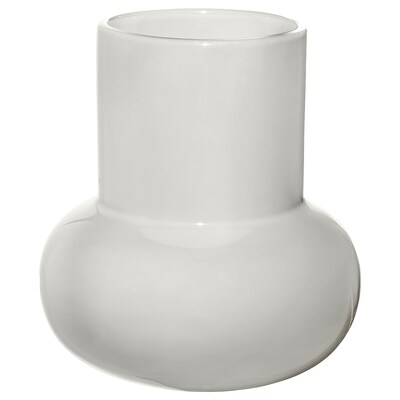 FNITTRIG Vase, blanc, 17 cm