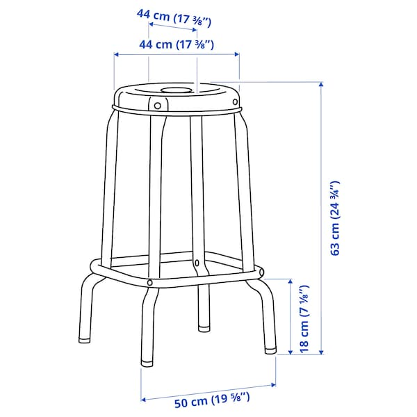 RÅSKOG Tabouret de bar, noir, 63 cm