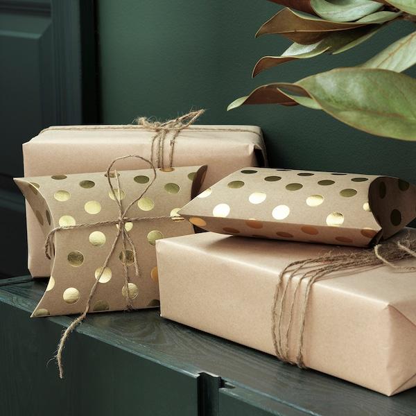 VINTER 2020 Boîte cadeau, motif à pois brun/doré