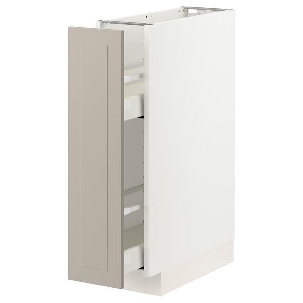 METOD / MAXIMERA Élément bas+rgts coulissants, blanc/Stensund beige, 20x60 cm