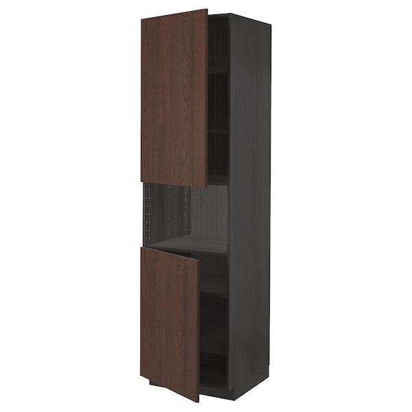 METOD Armoire micro-ondes+2ptes/tablette, noir/Sinarp brun, 60x60x220 cm