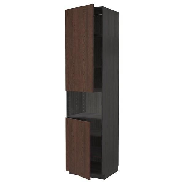 METOD Armoire micro-ondes+2ptes/tablette, noir/Sinarp brun, 60x60x240 cm