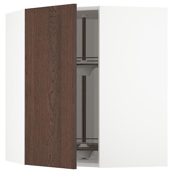 METOD Élément angle mural+rangement pivot, blanc/Sinarp brun, 68x80 cm