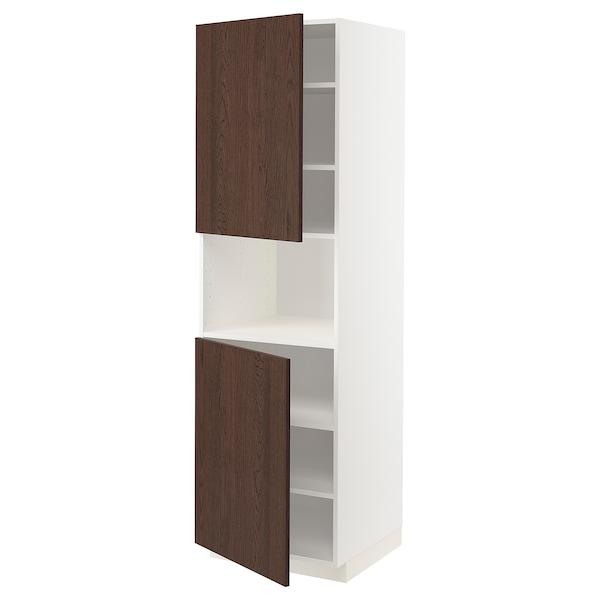 METOD Armoire micro-ondes+2ptes/tablette, blanc/Sinarp brun, 60x60x200 cm