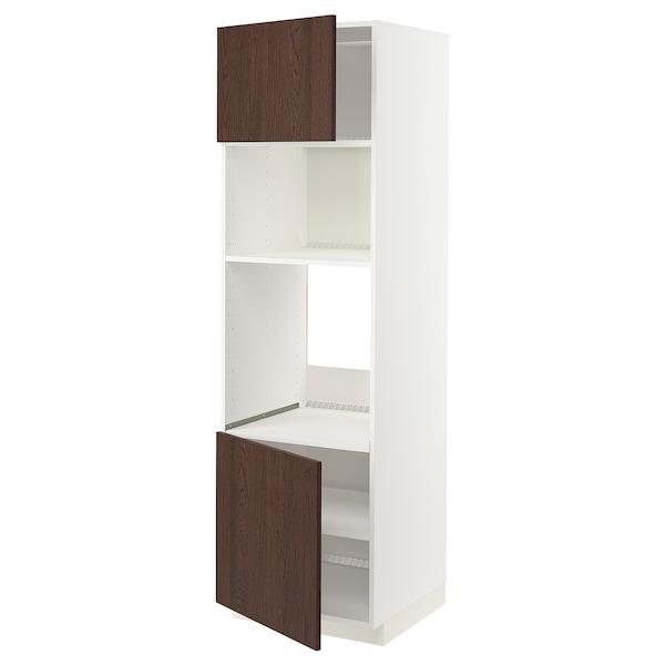 METOD Armoire four/micro-ondes 2portes/tb, blanc/Sinarp brun, 60x60x200 cm