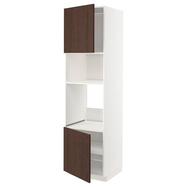 METOD Armoire four/micro-ondes 2portes/tb, blanc/Sinarp brun, 60x60x220 cm