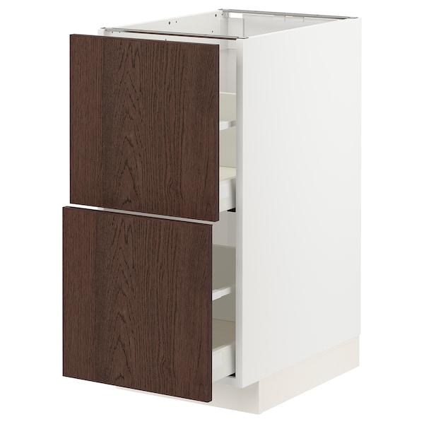 METOD / MAXIMERA Élément bas 2 faces/2 tiroirs hauts, blanc/Sinarp brun, 40x60 cm