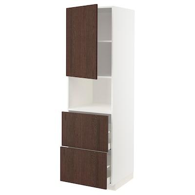 METOD / MAXIMERA Armoire micro-ondes av porte/2 tir, blanc/Sinarp brun, 60x60x200 cm