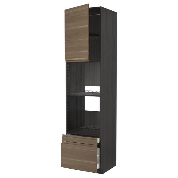 METOD / MAXIMERA Högskåp f ugn/komb ugn m dr/2 lådor, svart/Voxtorp valnötsmönstrad, 60x60x240 cm